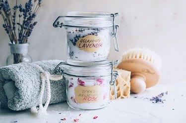 DIY bath salts in glass jars
