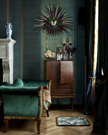 textured green walls in living room