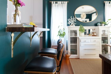 teal painted dining room