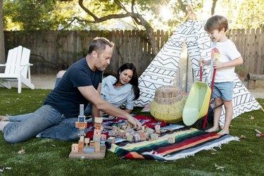 Gary, Lisa and Ronan in their backyard.