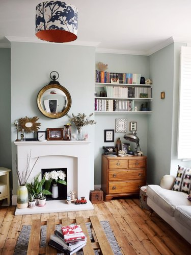 gray green paint in living room