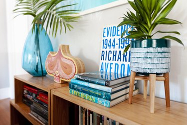 Some of Gary's art books on bookcases he built.