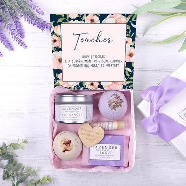 box with gifts in purple