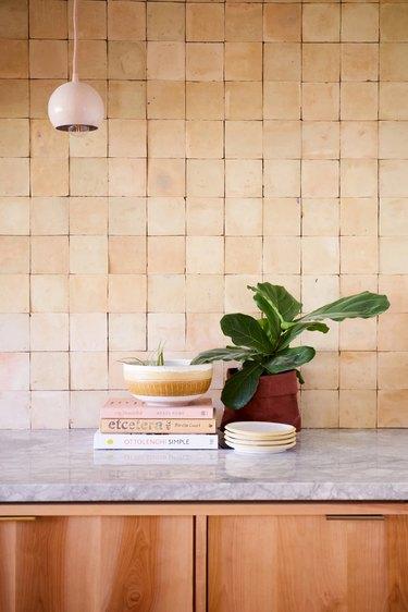 terra cotta color tile in the kitchen
