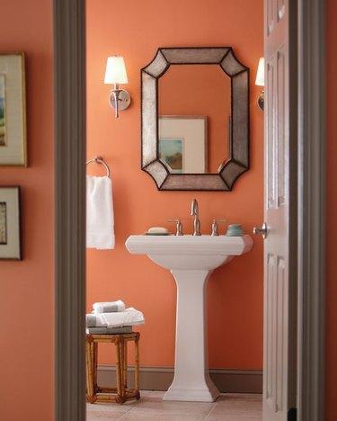 orange salmon paint in bathroom