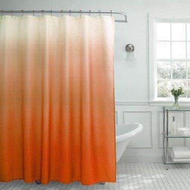 orange ombre shower curtain