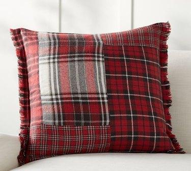 Pottery Barn red plaid pillow for farmhouse Christmas decor