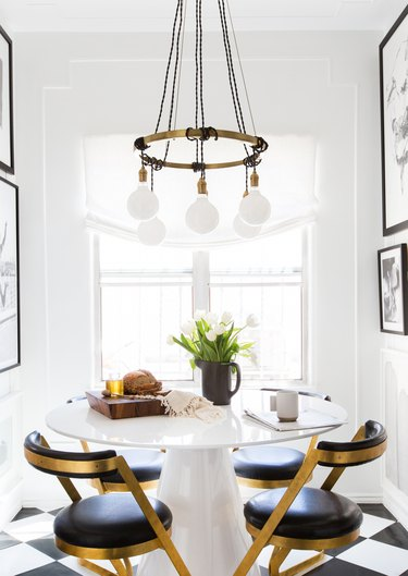 dining room curtain idea with table with white walls and chandelier