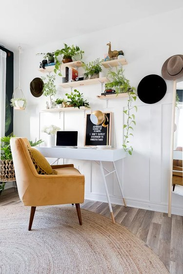 boho office with open shelving and greenery Home Office Ideas on a Budget