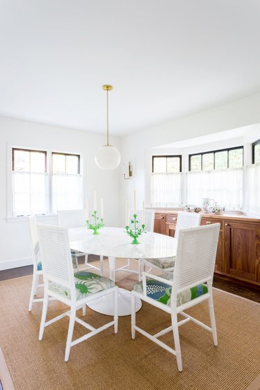 white dining room curtain idea with green accents