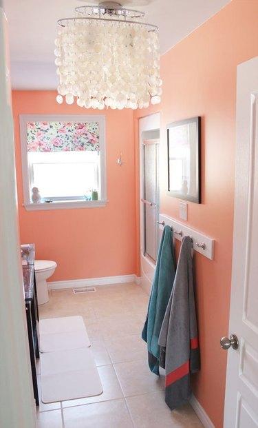 bathroom with peach orange paint