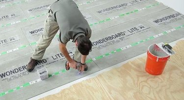 installing cement board.