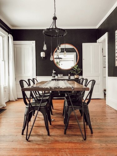 industrial dining room idea with black walls and white wainscoting with exposed bulb chandelier