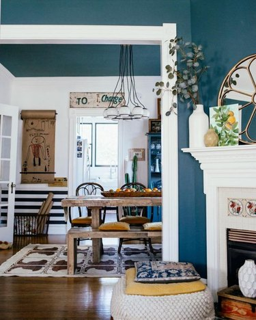 industrial dining room idea with vintage and rustic accents