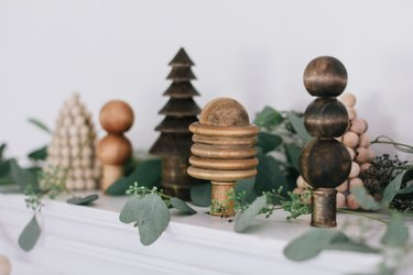 Wood bead forest holiday scene
