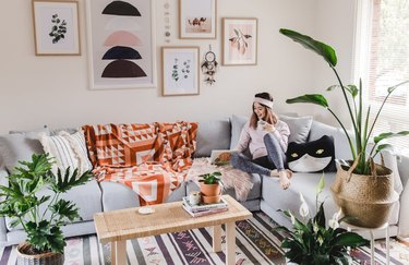 bohemian living room with ikea furniture