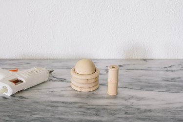Gluing wood bead on top of wood rings
