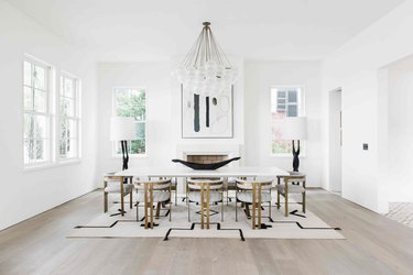 Contemporary dining room lighting idea with bubble chandelier