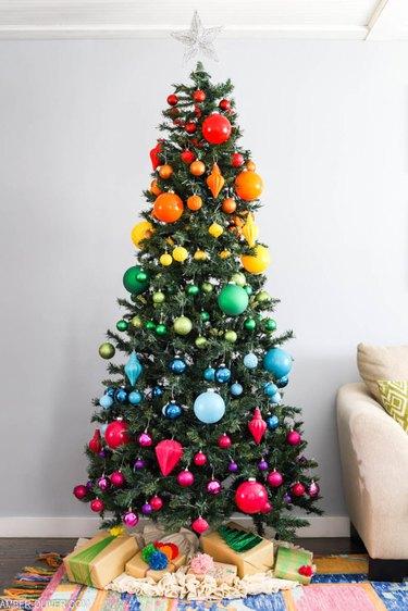 Christmas Tree Themes with rainbow ornaments