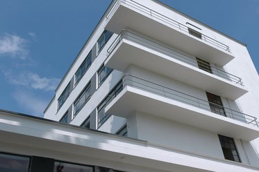 Bauhaus architecture with streamlined balconies and steel