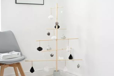 DIY Christmas tree with simple wood dowels and ornaments