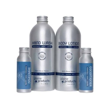 Plaine Products' Zero Waste Starter Kit with body lotion, hand wash, and travel shampoo and conditioner