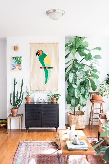 tropical living room with exotic bird tapestry