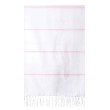 White beach towel with fringe and thin light pink horizontal stripes