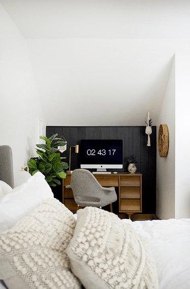 black accent wall in bedroom desk nook