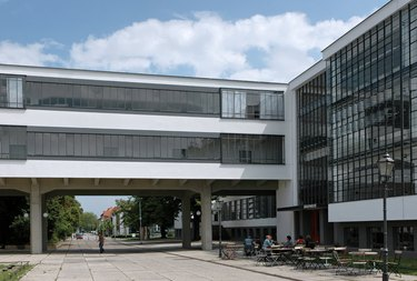 Bauhaus architecture with large windows and courtyard
