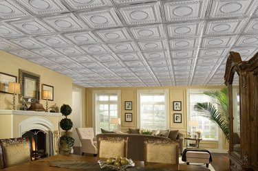 Room with faux tin ceiling.