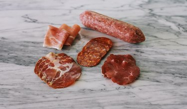 Various cured meats and sausages