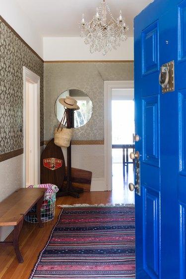 home with blue front door