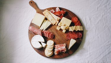 Crackers placed on the board
