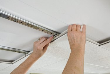Ceiling-mounted track installation.