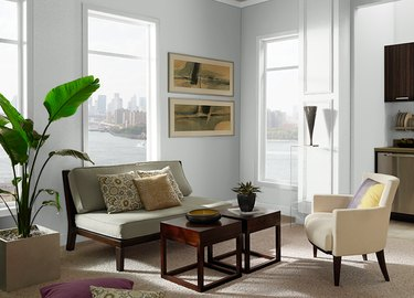 living room with light gray walls