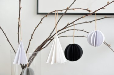DIY Folded Paper Tree Ornaments