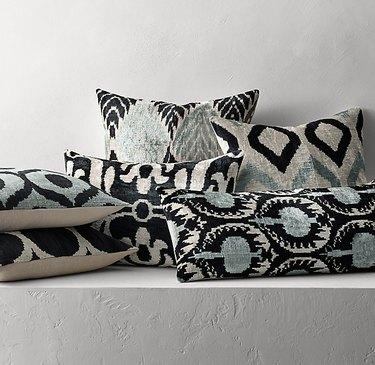 ikat patterned pillows