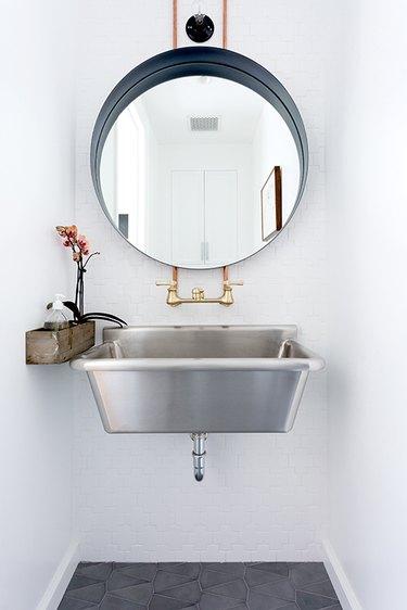 metal trough sink industrial chic small modern bathroom