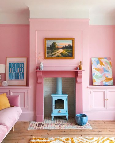 pink living room with hot pink fireplace and yellow accents Tone On Tone Paint Ideas
