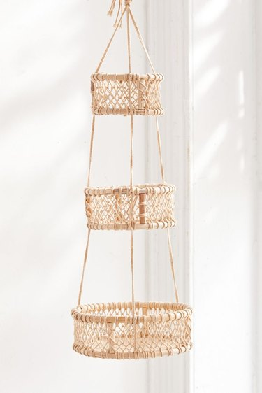 wood and cotton three tier hanging basket Toiletry Organizer