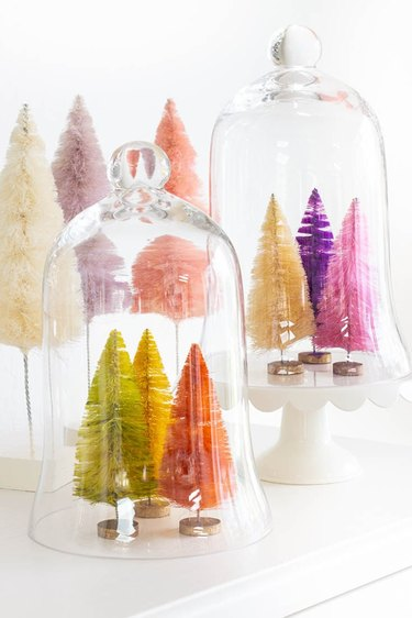 Christmas Crafts for Adults with Colored bottle brush holiday trees by Happy Happy Nester