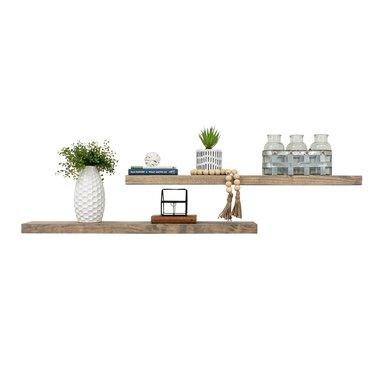 Rustic Pine Solid Natural Wood Floating Shelves