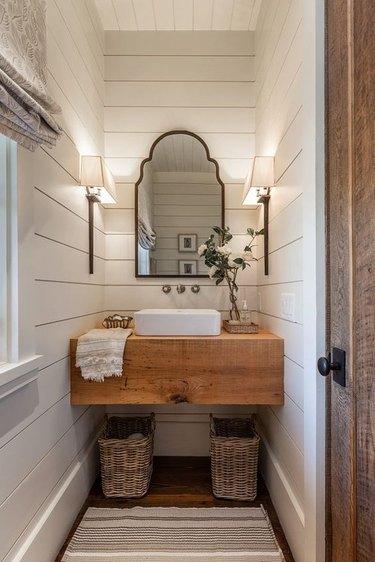 white shiplap in bathroom