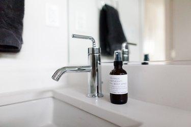 silver bathroom faucet