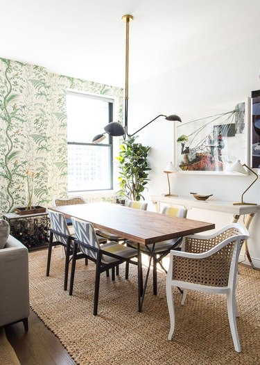 white dining room wall idea with patterned wallpaper