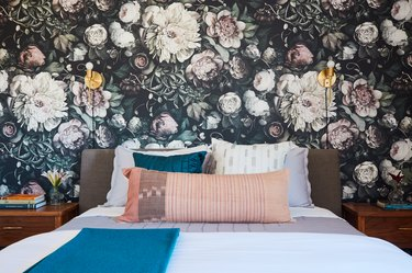large-scale floral print wallpaper