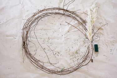 Pampas grass attached to wreath