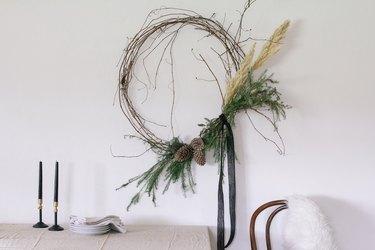 DIY modern asymmetrical wreath