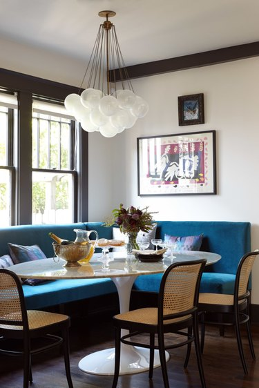 colorful banquette seating